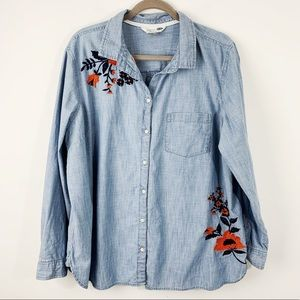 Old Navy Classic Chambray Blue Floral Size XXL